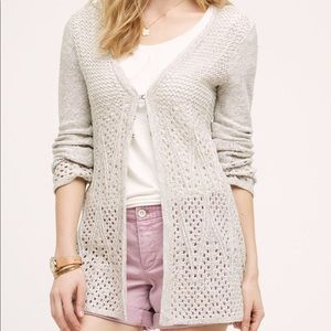 {Anthro} knitted& knotted Bella Pointelle Cardigan